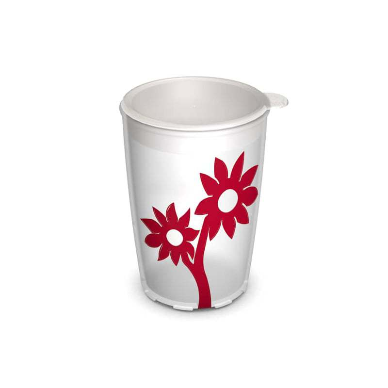 Cup with anti-slip flower 220 ml, with lid
