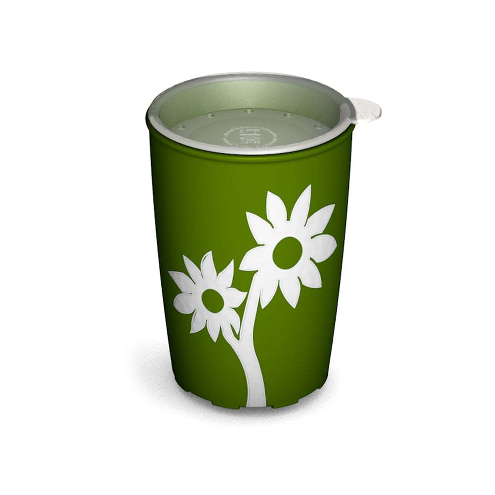 Non-Slip Cup with Flower and Drinking Lid