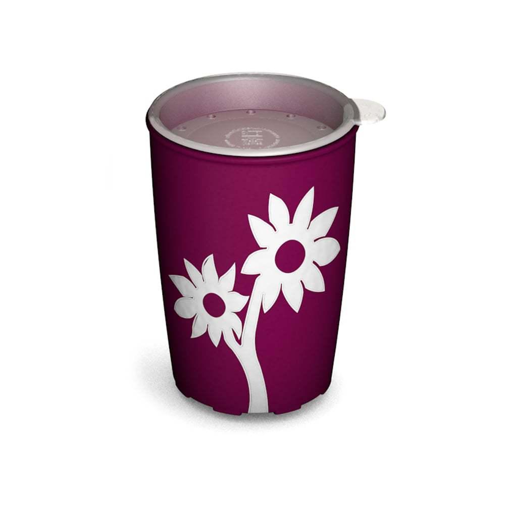 Becher mit Antirutsch-Blume mit Trinkdeckel