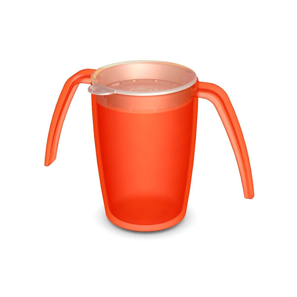 2-Henkel-Becher mit Trinkdeckel, rundum gehende Öffnungen