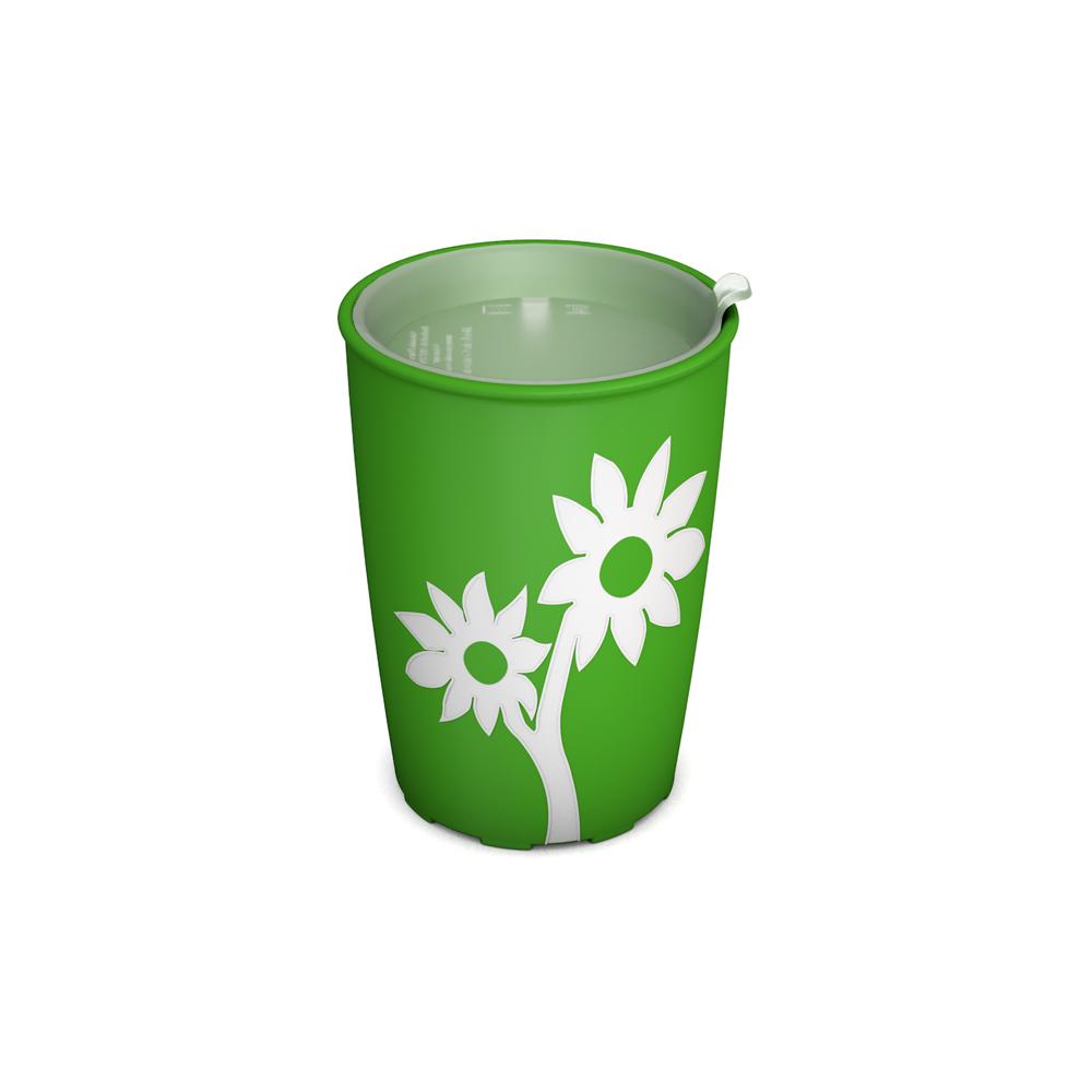Becher mit Antirutsch-Blume mit unauffälligem Trinkdeckel