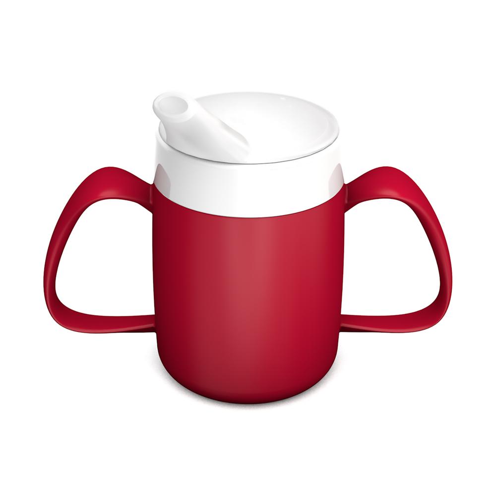 2-Henkel-Becher mit Trink-Trick mit Schnabelaufsatz große Öffnung