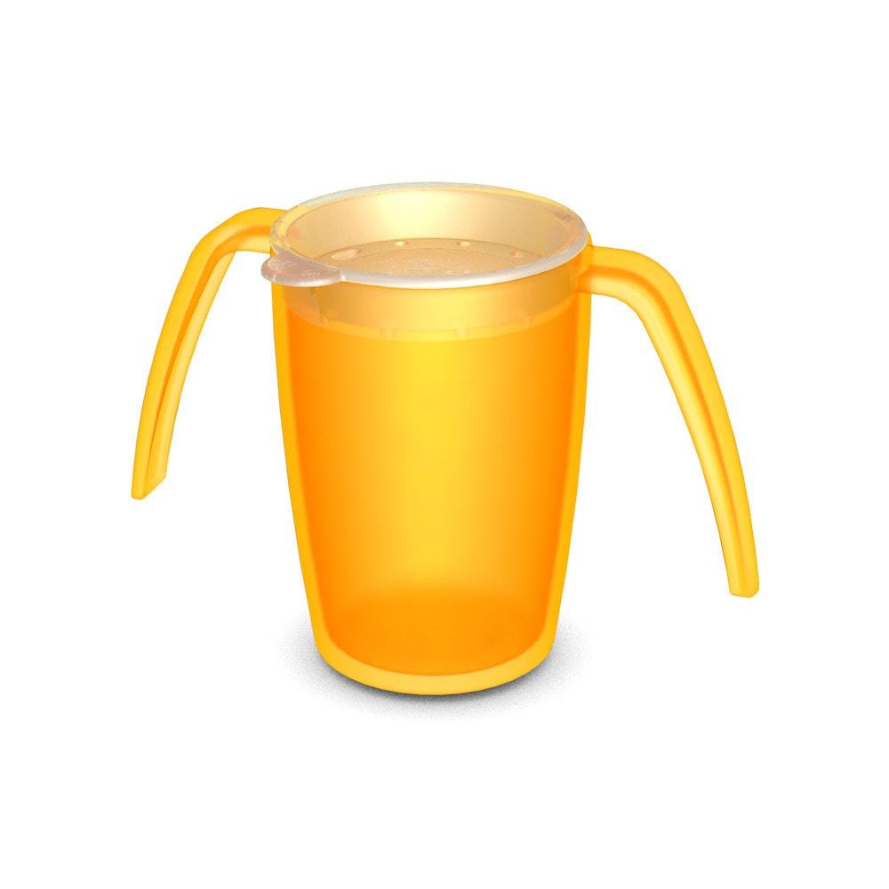 2-Henkel-Becher 220 ml, mit Trinkdeckel, rundum gehende Öffnungen